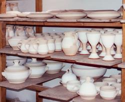 bisqued pots waiting to be glazed