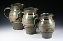 3 jugs with celadon glaze