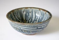 bowl, blue ash glaze
