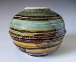 round vase, celadon glaze and brown