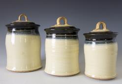 canisters, cream and dark blue
