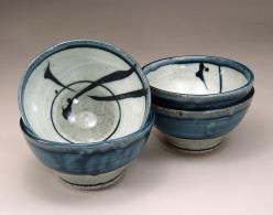 Cafe Au Lait Bowls, blue and grey