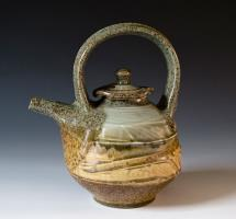 glazed celadon and brown teapot