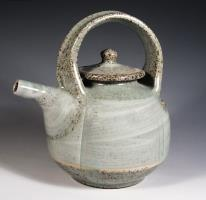 glazed celadon light green teapot