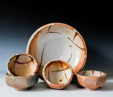 grouping of wood fired bowls