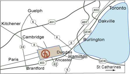 map showing the studio in southern Ontario